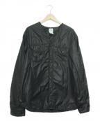 POST OALLS(ポストオーバーオールズ)の古着「ナイロンタフタノーカラー中綿ジャケット」|ブラック