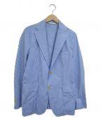 BARENA(バレナ)の古着「ギンガムチェックテーラードジャケット」|ホワイト×ブルー
