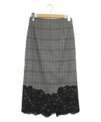 icB(アイシービー)の古着「Lace Pattern Comboスカート」|グレー