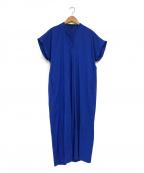 icB(アイシービー)の古着「ノーカラーブラウスワンピース」|ブルー