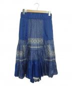 sacai luck(サカイ ラック)の古着「サテンパッチワークスカート」 ブルー