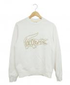 LACOSTE(ラコステ)の古着「クルーネックロゴ刺繍スウェット」|ホワイト