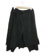 GROUND Y(グラウンドワイ)の古着「クロップドラップデザインパンツ」 ブラック