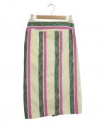 ROPE()の古着「マルチストライプタイトスカート」 グリーン×パープル