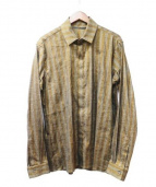 HAIDER ACKERMANN(ハイダーアッカーマン)の古着「Striped Cotton-Linen Shirt」|ブラウン