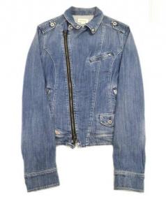 DIESEL (ディーゼル) デニムライダースジャケット ブルーインディゴ サイズ:L