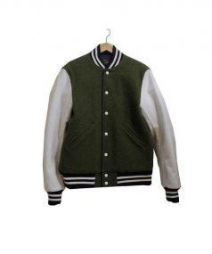 Woolrich Woolen Mills(ウール リッチ ウーレン ミルズ)の古着「スリーブ切替スタジャン」|カーキ×ホワイト