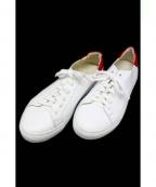 BOEMOS(ボエモス)の古着「レザースニーカー」 ホワイト×レッド