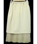 UNITED TOKYO(ユナイテッド トウキョウ)の古着「ダブルクロスプリーツスカート 」|アイボリー