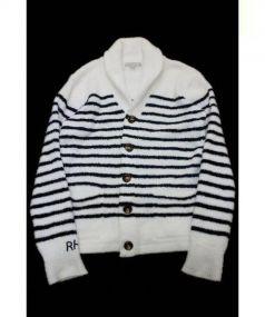 BAREFOOT DREAMS(ベアフットドリームス)の古着「ショールカラーカーディガン」 ネイビー×ホワイト