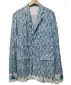 ANN DEMEULEMEESTER(アンドゥムルメステール)の古着「3Bジャケット」|ブルー×ホワイト