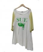 SueUNDERCOVER(スーアンダーカバー)の古着「袖GC切替ユガミラグランカットソー」|ホワイト×イエロー