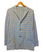 LARDINI(ラルディーニ)の古着「リネンテーラードジャケット」|ベージュ×ブルー