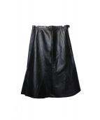 CHANEL(シャネル)の古着「レザースカート」|ブラック