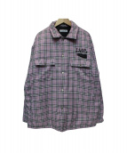 FLAGSTUFF(フラッグスタッフ)の古着「QUILTING CHECK SHIRTS GRAY CHE」|ピンク