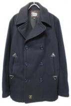 URSUS BAPE(アーサスベイプ)の古着「レザー切替Pコート」