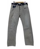A BATHING APE(エイプ)の古着「ヒッコリ-切替パンツ」|インディゴ