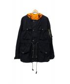Denim & Supply Ralph Lauren(デニムアンドサプライ ラルフローレン)の古着「フーデッドジャケット」 ネイビー×オレンジ
