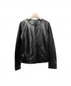 KiwaSylphy(キワシルフィー)の古着「ゴートスキンノーカラージャケット」|ブラック