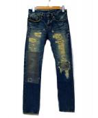 Hysteric Glamour(ヒステリックグラマー)の古着「NOBU REMAKE加工デニムパンツ」|ブルー