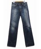 NUDIE JEANS(ヌーディージーンズ)の古着「ダメージ加工デニムパンツ」 ブルー