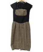 G.V.G.V.(ジーブイジーブイ)の古着「ジャガードドレス」 ブラック×ベージュ