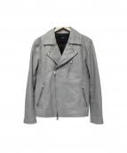 AKM(エーケーエム)の古着「レザーライダースジャケット」|グレー