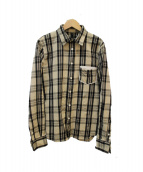 wjk(ダブルジェイケイ)の古着「マドラスチェックレザーポケットシャツ」|アイボリー×ブラック