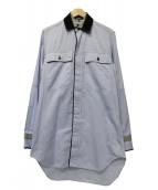 ANN DEMEULEMEESTER(アンドゥムルメステール)の古着「切替オックスフォードシャツ」|ブルー