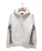 Supreme(シュプリーム)の古着「テキストリブフーデットスウェッチシャツ」|レッド×ホワイト