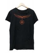 lucien pellat-finet(ルシアンペラフィネ)の古着「ダメージ加工Tシャツ」 オレンジ×ブラック
