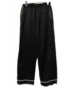 DRIES VAN NOTEN(ドリスヴァンノッテン)の古着「ウエスタンパイピングサテンパンツ」|ブラック