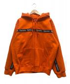 Supreme(シュプリーム)の古着「テキストストライプジップアップフーデットスウェットシャツ」|オレンジ