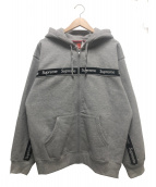 Supreme(シュプリーム)の古着「テキストストライプジップアップフーデットスウェットシャツ」|グレー