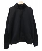 AURALEE(オーラリー)の古着「BAGGY POLYESTER SWEAT HALF ZIP」|ブラック