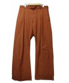 zubon(ズボン)の古着「2Tuck Wide Trouser」|ブラウン