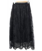 Spick and Span Noble(スピック&スパンノーブル)の古着「レーススカート」|ブラック
