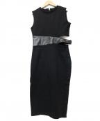 AULA(アウラ)の古着「LEATHER BELT SWEAT DRESS」|ブラック