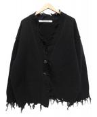 PERVERZE(パーバーズ)の古着「Crash Wide Knit Cardigan」|ブラック