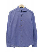 recency of mine(リーセンシィ オブ マイン)の古着「バイアス柄ジャガード起毛シャツ」|ブルー