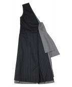 ADORE(アドーア)の古着「ウールストライプワンショルダーワンピース」|グレー×ブラック