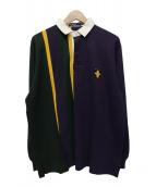 POLO RALPH LAUREN(ポロラルフローレン)の古着「長袖ポロシャツ」|グリーン×パープル