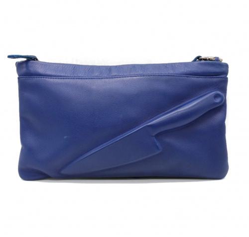 VLIEGER & VANDAM(フリーガーアンドファンダム)VLIEGER & VANDAM (フリーガーアンドファンダム) デザインショルダーバッグ ブルーの古着・服飾アイテム