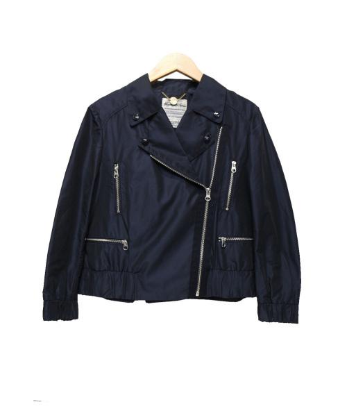 MUVEIL(ミュベール)MUVEIL (ミュベール) シルクブレンドライダースジャケット ネイビー サイズ:38の古着・服飾アイテム