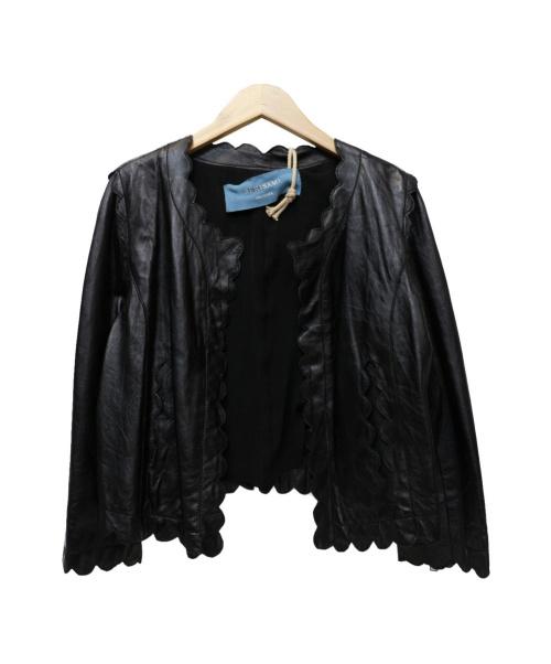 REKISAMI(レキサミ)REKISAMI (レキサミ) ノーカラーレザージャケット ブラック サイズ:38の古着・服飾アイテム