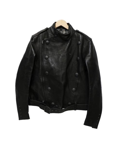 Rags McGREGOR(ラグスマックレガー)Rags McGREGOR (ラグスマックレガー) ダブルレザージャケット ブラック サイズ:Sの古着・服飾アイテム