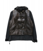 Rags McGREGOR(ラグスマックレガー)の古着「レザーベスト付マウンテンパーカー」|ブラック×ブラウン