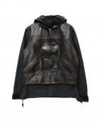 Rags McGREGOR(ラグス マクレガー)の古着「レザーベスト付マウンテンパーカー」|ブラック×ブラウン