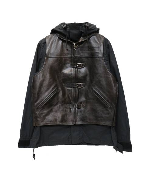 Rags McGREGOR(ラグスマックレガー)Rags McGREGOR (ラグスマックレガー) レザーベスト付マウンテンパーカー ブラック×ブラウン サイズ:Mの古着・服飾アイテム