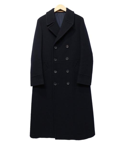 SCYEBASICS(サイベーシックス)SCYEBASICS (サイベーシックス) ウールカシミヤメルトンロングコート ネイビー サイズ:38の古着・服飾アイテム